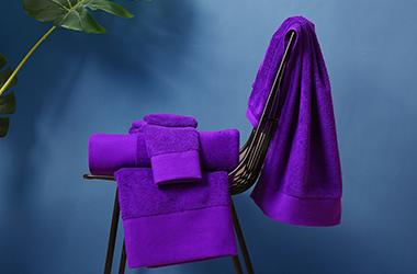 紫色铂金缎毛巾 酒店毛巾定制