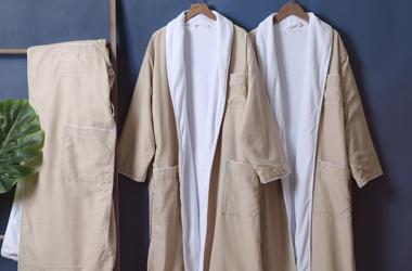 咖色斜纹布浴袍
